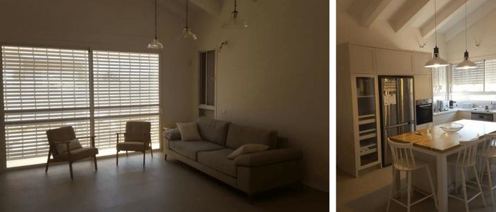 מטבח וסלון בטכנולוגיית בניה קלה למגורים