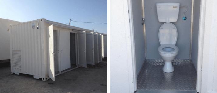 מכולות פונקציונליות עם חדרי שירותים לשהכרה